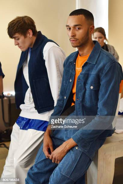 Models pose at the Last Hiers show during the MercedesBenz Fashion Week Berlin Spring/Summer 2018 at Rosenthal Studios on July 6 2017 in Berlin...