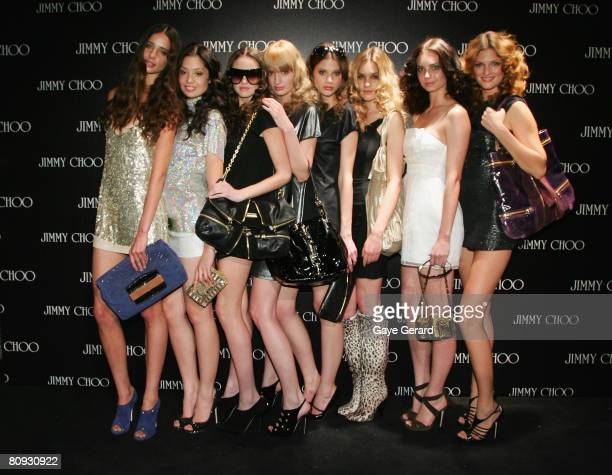 Models pose at the launch of the new Jimmy Choo boutique at Castlereagh Street on April 30 2008 in Sydney Australia The opening night event featured...