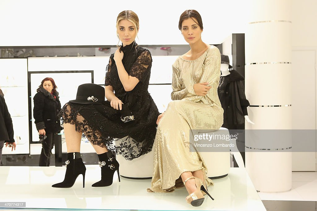 Models pose at the Loriblu Cocktail Party as part of Milan Fashion Week Womenswear Autumn/Winter 2014 on February 20, 2014 in Milan, Italy.