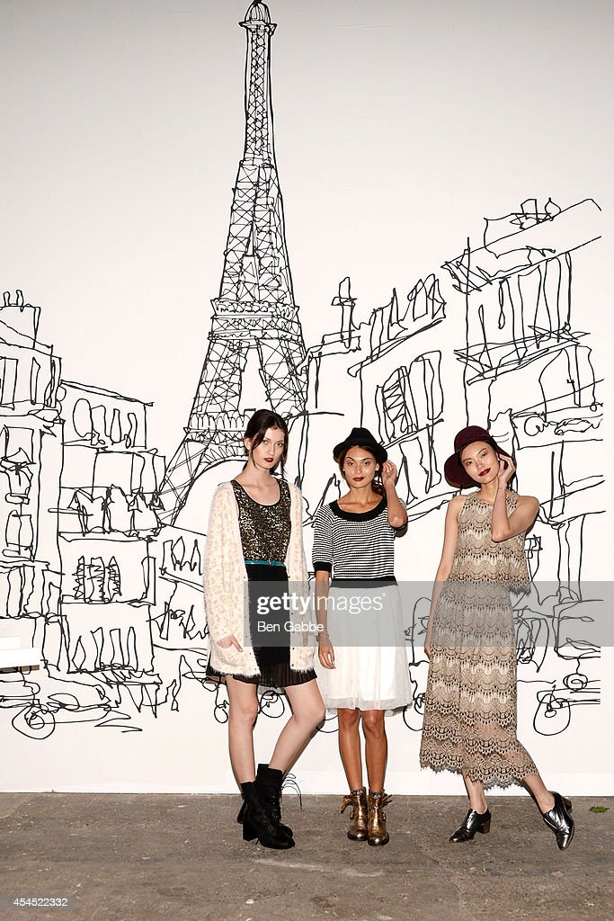 Models pose at the Maison Jules Presentation during Mercedes-Benz Fashion Week Spring 2015 at Art Beam on September 2, 2014 in New York City.