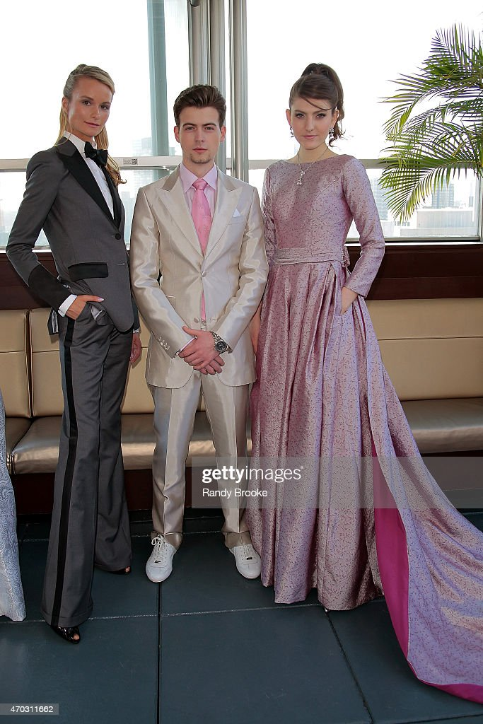 Models pose at the Malan Breton Bridal Spring/Summer 2016 Presentation at The Empire Hotel Rooftop on April 18 2015 in New York City