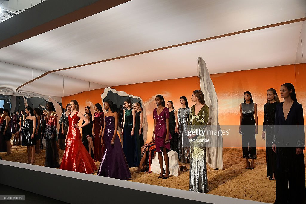 Models pose at the Mathieu Mirano presentation during Fall 2016 New York Fashion Week at Pier 59 Studios on February 11, 2016 in New York City.