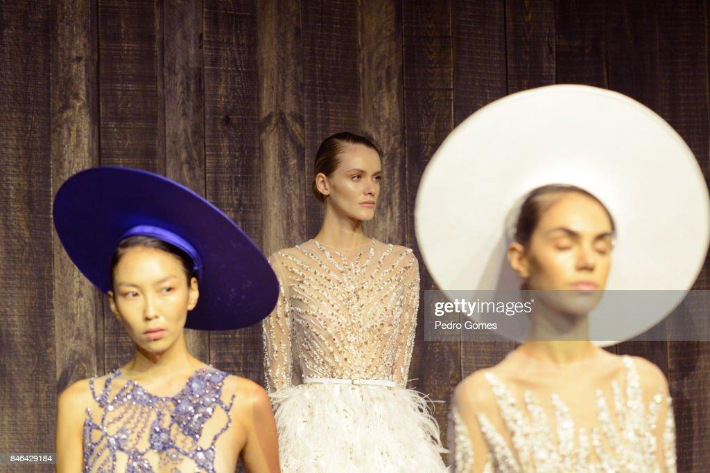 Models pose at the Mehmet Korkmaz presentation during Mercedes-Benz Istanbul Fashion Week September 2017 at Zorlu Center on September 13, 2017 in Istanbul, Turkey.
