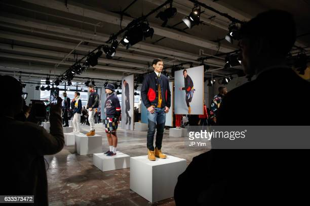 Models pose at the Nautica Fall 2017 presentation during NYFW Men's at Skylight Clarkson North on February 1 2017 in New York City