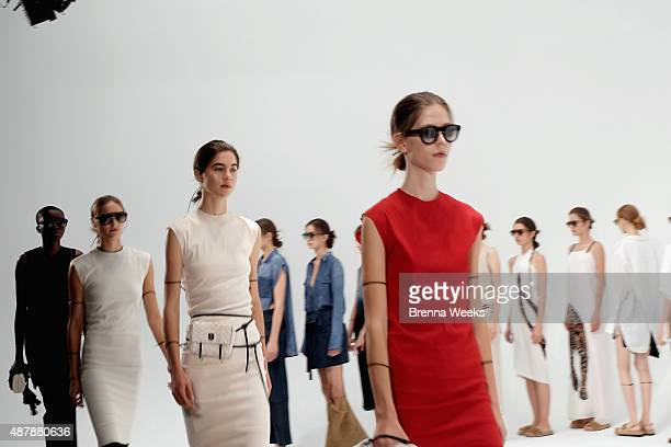Models pose at the Osklen presentation during Spring 2016 New York Fashion Week at Industria Studios on September 12 2015 in New York City