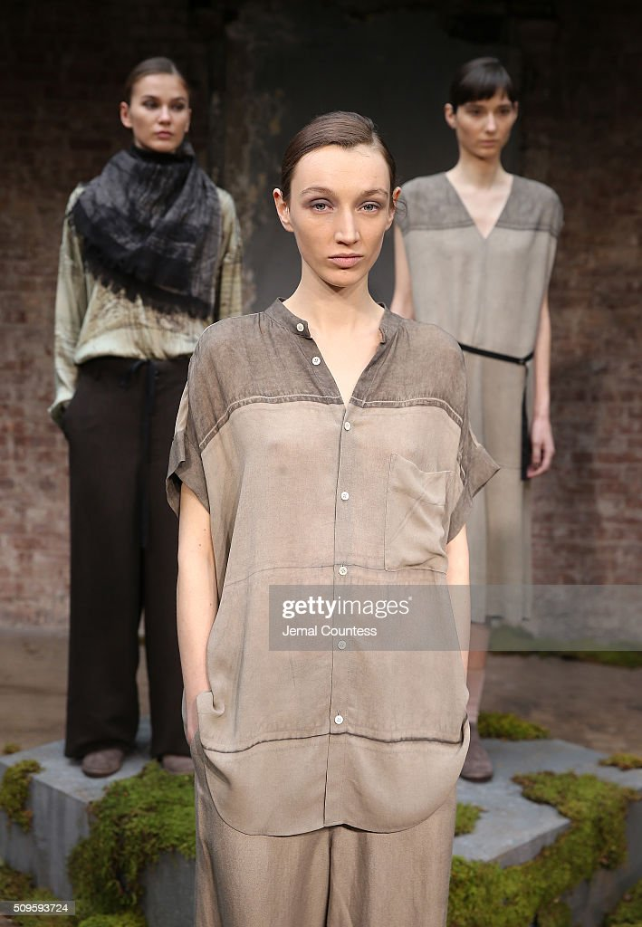 Models pose at the Pas de Calais Fall 2016 Presentation during at the Pas de Calais Fall 2016 New York Fashion Week at Soho Lofts on February 11, 2016 in New York City.