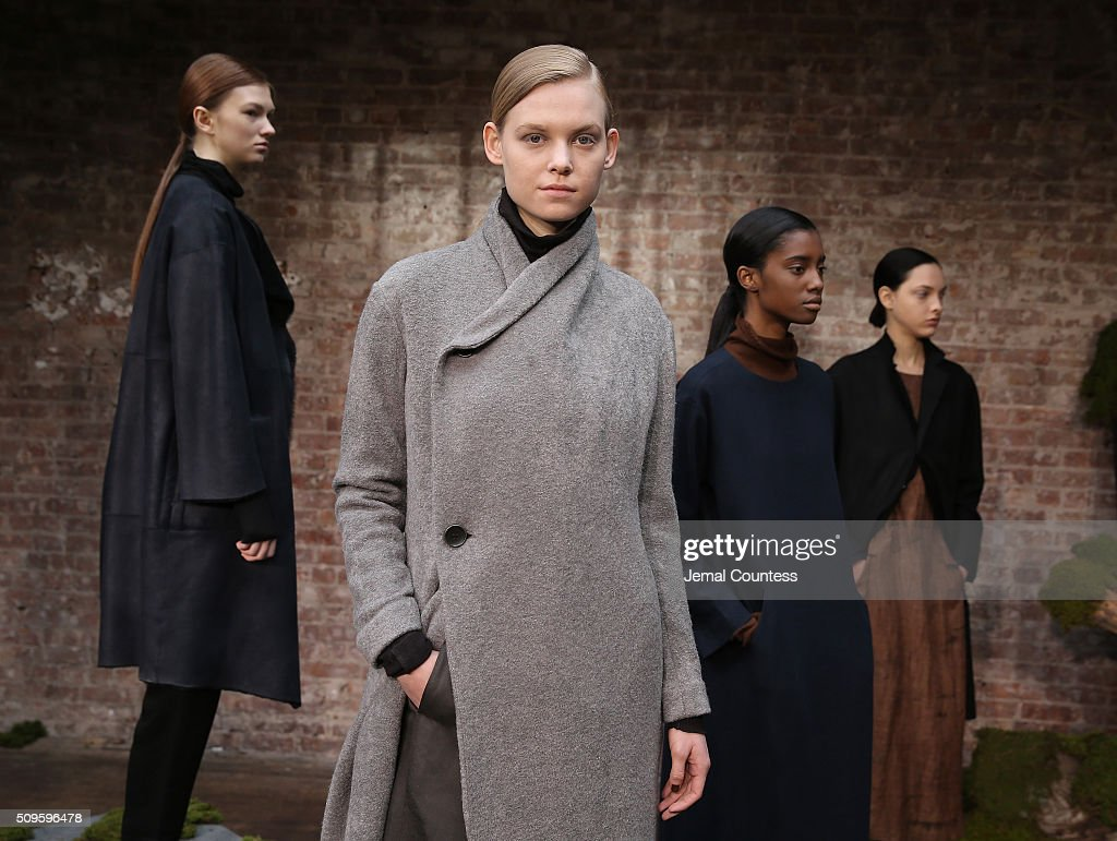 Models pose at the Pas de Calais Fall 2016 Presentation during New York Fashion Week at Soho Lofts on February 11, 2016 in New York City.