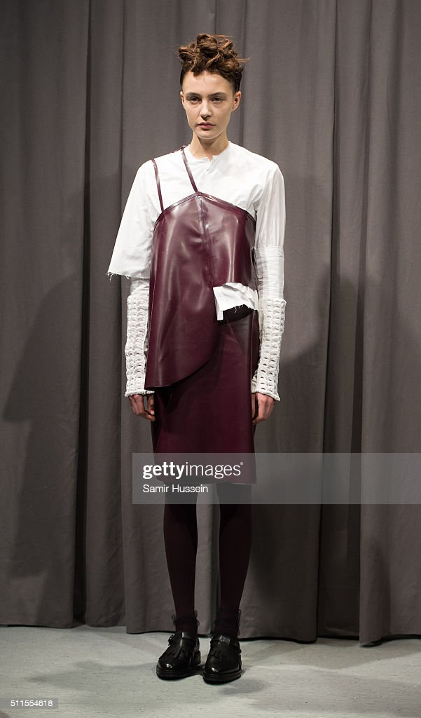 Models pose at the Phoebe English presentation during London Fashion Week Autumn/Winter 2016/17 at ICA on February 21 2016 in London England