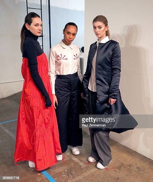 Models pose at the Presentation Fall 2016 New York Fashion Week at Openhouse Gallery on February 12 2016 in New York City