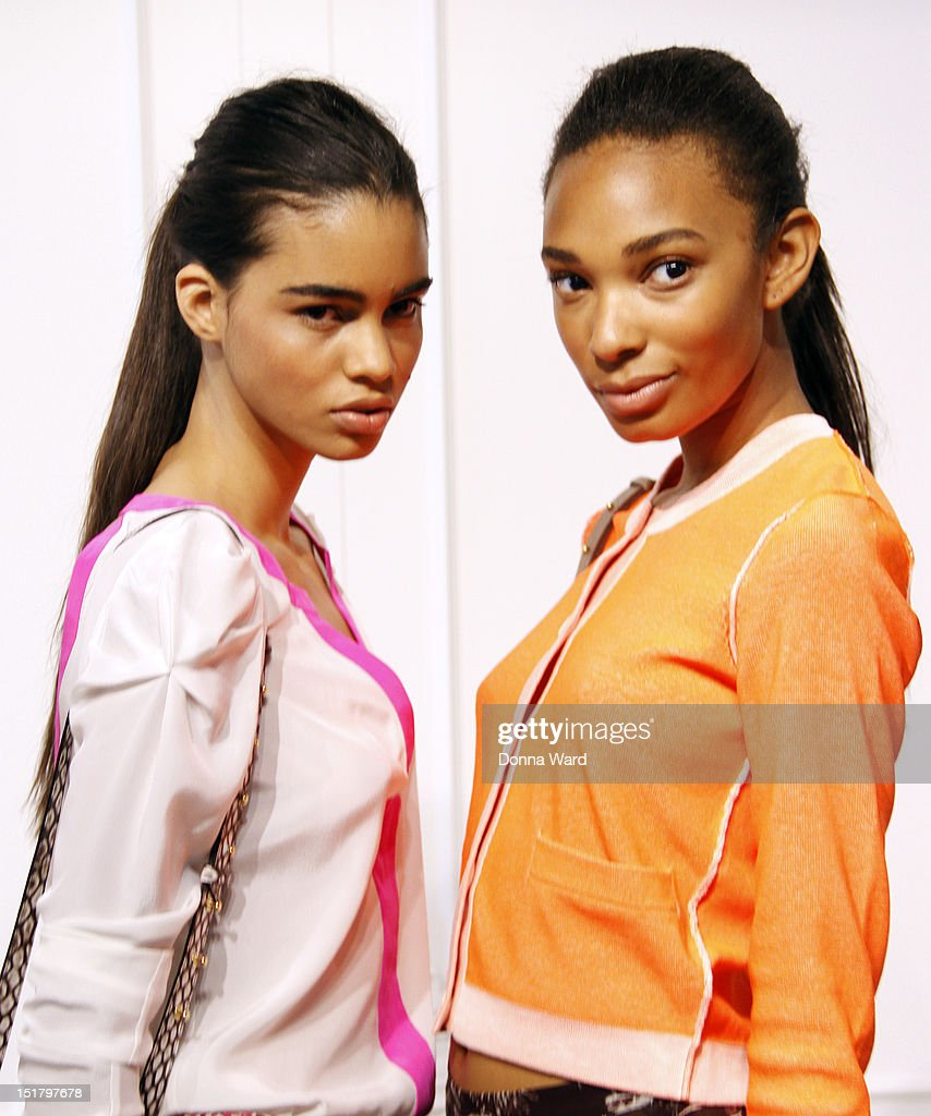 Models pose at the Rachel Roy spring 2013 presentation during Mercedes-Benz Fashion Week on September 11, 2012 in New York City.