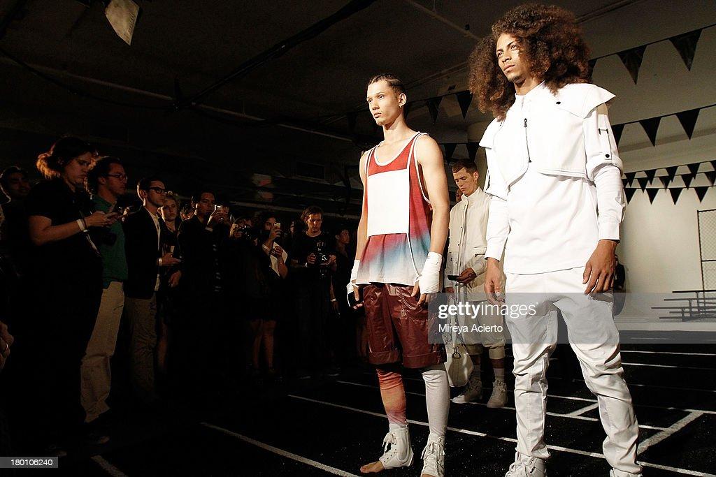 Models pose at the Rochambeau Presentation at Milk Studios on September 8, 2013 in New York City.