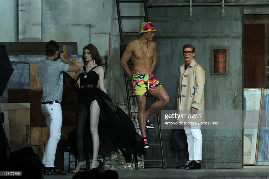 Models pose at the runway during the DSquared2 show as a part of Milan Fashion Week Menswear Spring/Summer 2015 on June 24, 2014 in Milan, Italy.