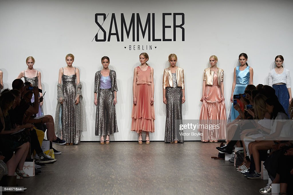 Models pose at the Sammler Berlin show during the Mercedes-Benz Fashion Week Berlin Spring/Summer 2017 at Stage at me Collectors Room on July 1, 2016 in Berlin, Germany.