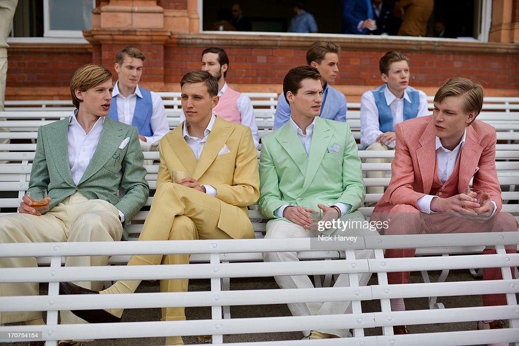 Models pose at the Savile Row & St James's Presentation during the London Collections: MEN SS14 at Lord's Cricket Ground on June 17, 2013 in London, England.