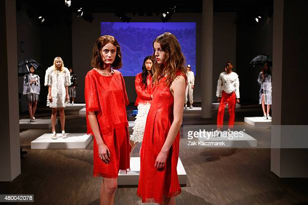 Models pose at the Steinrohner show during the MercedesBenz Fashion Week Berlin Spring/Summer 2016 at Stage at me Collectors Room on July 9 2015 in...