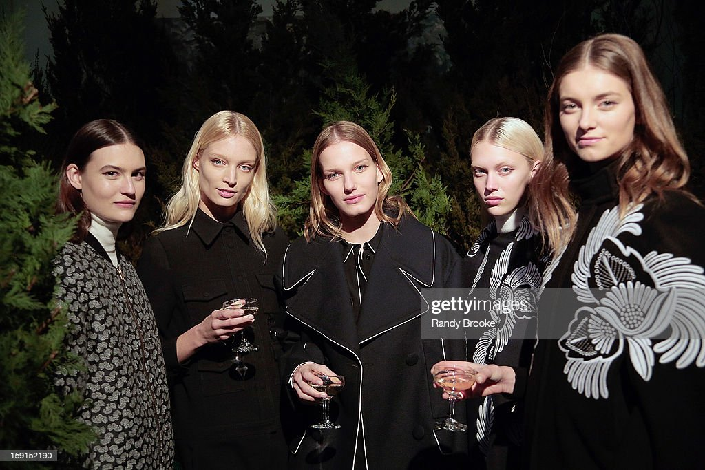 Models pose at the Stella McCartney Autumn 2013 Presentation at 680 Park Avenue on January 8, 2013 in New York City.
