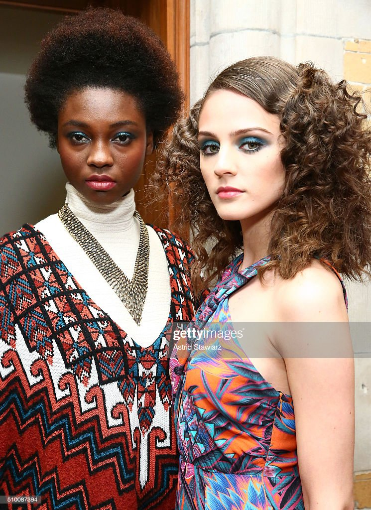 Models pose at the TRESemme at Mara Hoffman A/W16 Presentation at High Line Hotel, The Refectory on February 13, 2016 in New York City.
