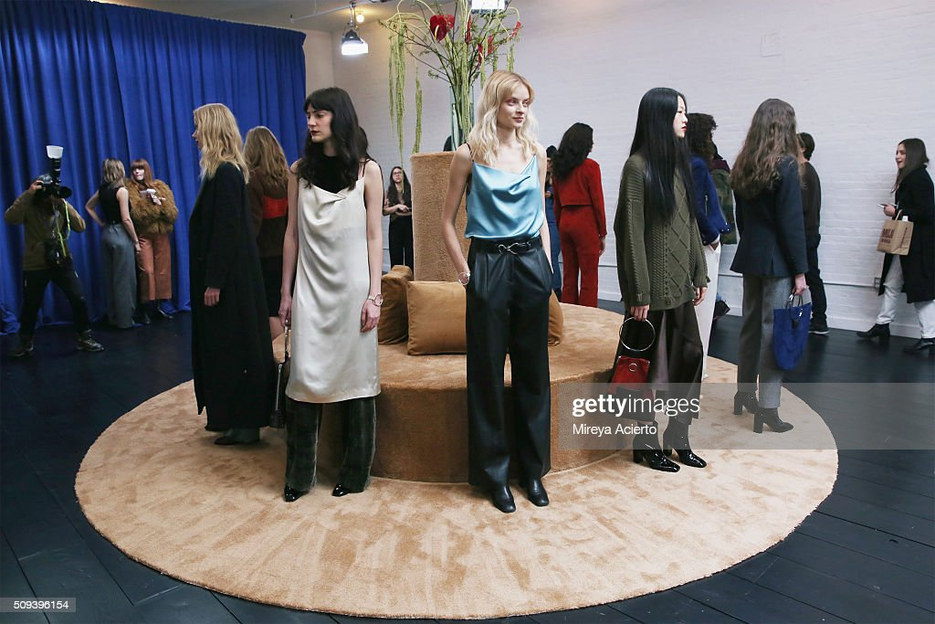 Models pose at the Veda Presentation during the Fall 2016 New York Fashion Week on February 10, 2016 in New York City.