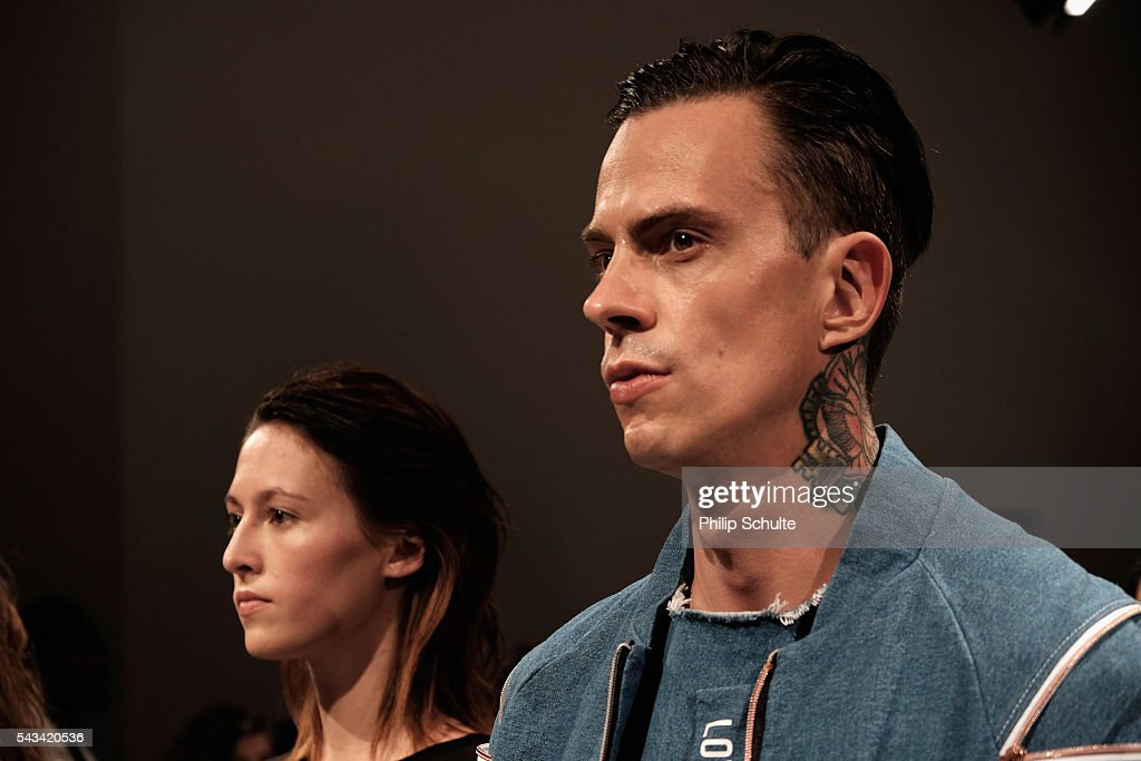 Models pose at the Vektor show during the Mercedes-Benz Fashion Week Berlin Spring/Summer 2017 at Stage at me Collectors Room on June 28, 2016 in Berlin, Germany.