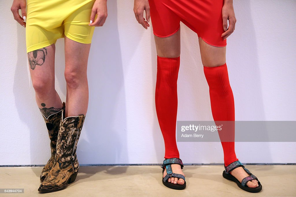 Models pose at the Wendy & Jim show installation during Mercedes-Benz Fashion Week Berlin Spring/Summer 2017 at Galerie Crone on June 30, 2016 in Berlin, Germany.