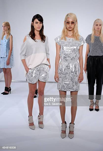 Models pose at the Zoe Jordan fashion show during MADE Fashion Week Spring 2015 at Milk Studios on September 6 2014 in New York City
