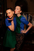 Models pose backstage ahead of A Review of Australian Fashion Week show as part of Mercedes Benz Fashion Festival Sydney 2011 at Sydney Town Hall on...