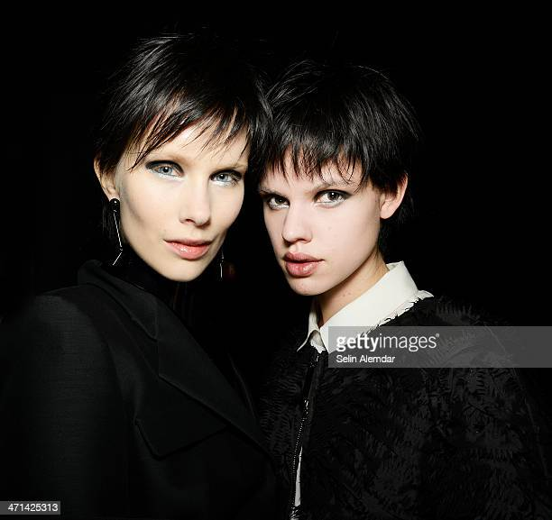 Models pose backstage ahead of Emporio Armani show during Milan Fashion Week Womenswear Autumn/Winter 2014 on February 21 2014 in Milan Italy