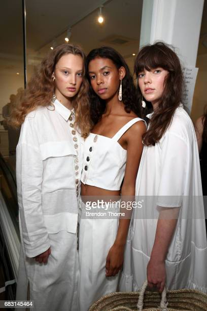 Models pose backstage ahead of the Albus Lumen show at MercedesBenz Fashion Week Resort 18 Collections at La Porte Deux on May 15 2017 in Sydney...