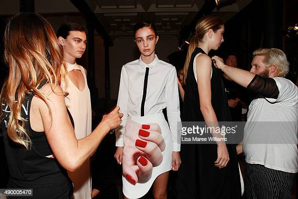 Models pose backstage ahead of the Australian Luxe show during MercedesBenz Fashion Festival Sydney 2015 at Sydney Town Hall on September 25 2015 in...