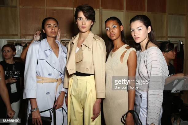 Models pose backstage ahead of the Christopher Esber show at MercedesBenz Fashion Week Resort 18 Collections at The Clothing Store on May 16 2017 in...