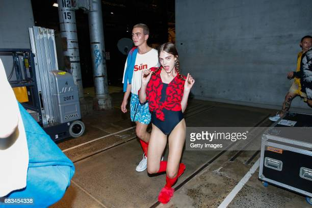 Models pose backstage ahead of the Double Rainbouu show at MercedesBenz Fashion Week Resort 18 Collections at Carriageworks on May 15 2017 in Sydney...