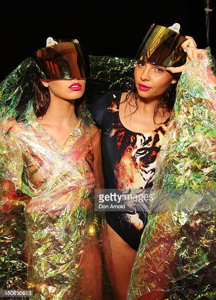 Models pose backstage ahead of the Fashion Week Highlight Show as part of Mercedes Benz Fashion Festival Sydney 2012 at Sydney Town Hall on August 23...