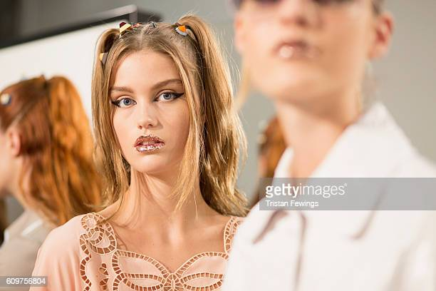 Models pose backstage ahead of the Fendi show during Milan Fashion Week Spring/Summer 2017 on September 22 2016 in Milan Italy