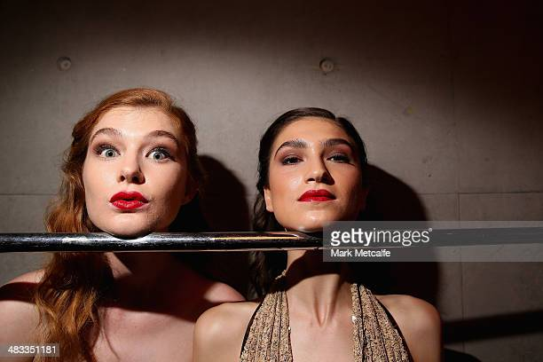Models pose backstage ahead of the Galanni show at MercedesBenz Fashion Week Australia 2014 at Carriageworks on April 8 2014 in Sydney Australia