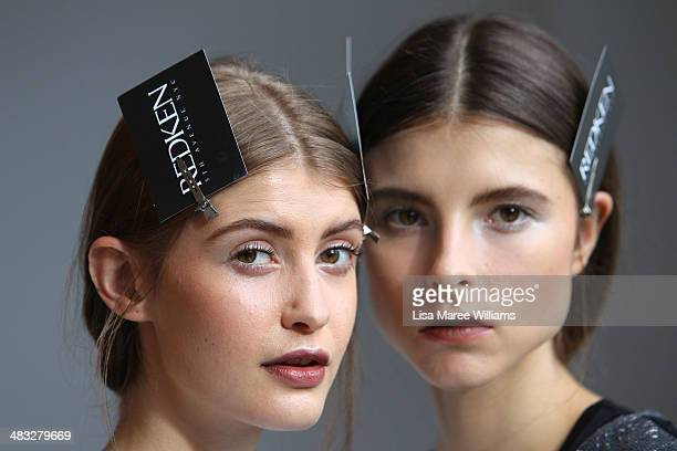 Models pose backstage ahead of the Ginger Smart show at MercedesBenz Fashion Week Australia 2014 at Level 1 55 Mentmore Ave Rosebery on April 8 2014...