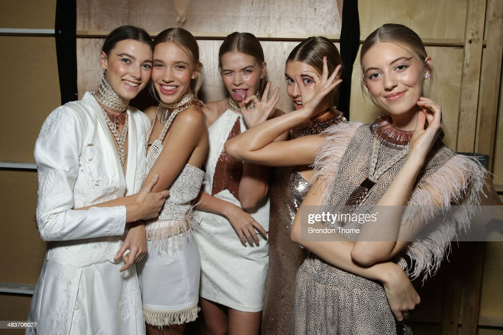 Models pose backstage ahead of the Ixiah show at Mercedes-Benz Fashion Week Australia 2014 at Carriageworks on April 10, 2014 in Sydney, Australia.