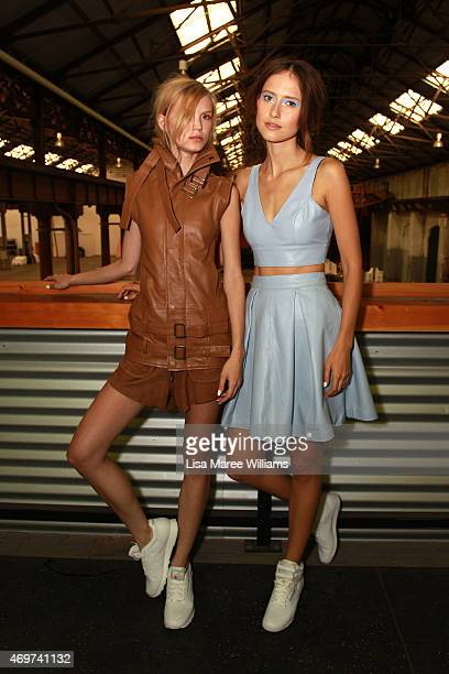 Models pose backstage ahead of the Jennifer Kate show at MercedesBenz Fashion Week Australia 2015 at Carriageworks on April 15 2015 in Sydney...