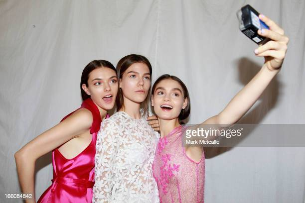Models pose backstage ahead of the Karla Spetic show during MercedesBenz Fashion Week Australia Spring/Summer 2013/14 at Hughes Gallery on April 9...