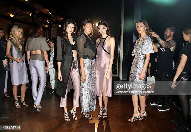 Models pose backstage ahead of the Lavazza presents from Italy with passion show during MercedesBenz Fashion Festival Sydney at Sydney Town Hall on...