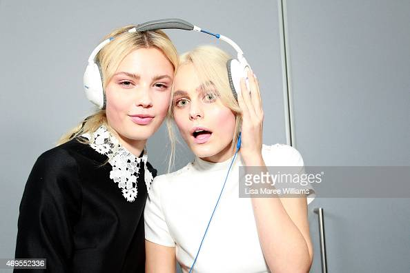 Models pose backstage ahead of the Macgraw show at MercedesBenz Fashion Week Australia 2015 at Carriageworks on April 13 2015 in Sydney Australia
