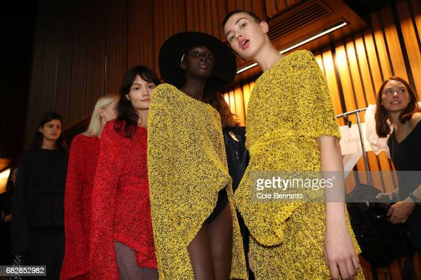 Models pose backstage ahead of the MercedesBenz Presents Dion Lee show at MercedesBenz Fashion Week Resort 18 Collections at the Sydney Opera House...