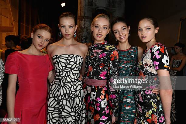 Models pose backstage ahead of the Oscar de la Renta show presented by Etihad Airways at MercedesBenz Fashion Week Resort 17 Collections at...