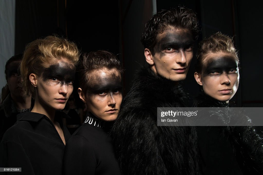 Models pose backstage ahead of the Outkastpeople show during the Mercedes-Benz Fashion Week Istanbul Autumn/Winter 2016 at Zorlu Center on March 17, 2016 in Istanbul, Turkey.