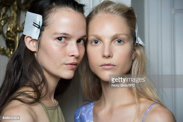 Models pose backstage ahead of the Peter Pilotto show during London Fashion Week September 2017 on September 17 2017 in London England