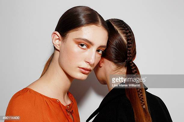 Models pose backstage ahead of the Ready To Wear show during MercedesBenz Fashion Festival Sydney 2015 at Sydney Town Hall on September 26 2015 in...