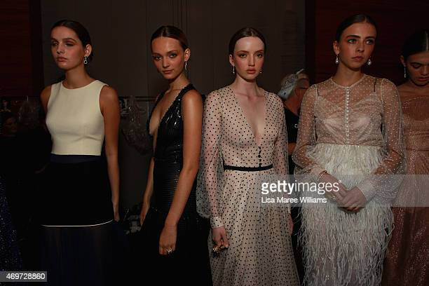 Models pose backstage ahead of the Steven Khalil show at MercedesBenz Fashion Week Australia 2015 at Carriageworks on April 15 2015 in Sydney...