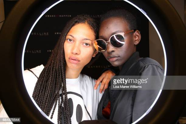 Models pose backstage ahead of the StrateasCarlucci show at MercedesBenz Fashion Week Resort 18 Collections at Carriageworks on May 18 2017 in Sydney...
