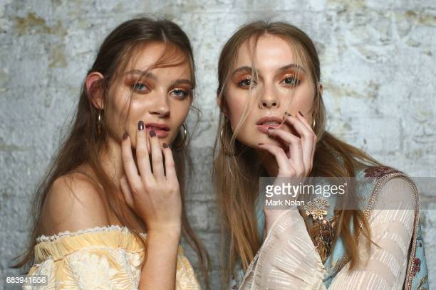 Models pose backstage ahead of the We Are Kindred show at MercedesBenz Fashion Week Resort 18 Collections at Carriageworks on May 17 2017 in Sydney...