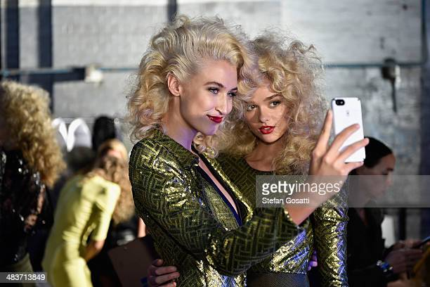 Models pose backstage ahead of the Zhivago show at MercedesBenz Fashion Week Australia 2014 at the Paint Shop Building Everleigh Suburban Car...
