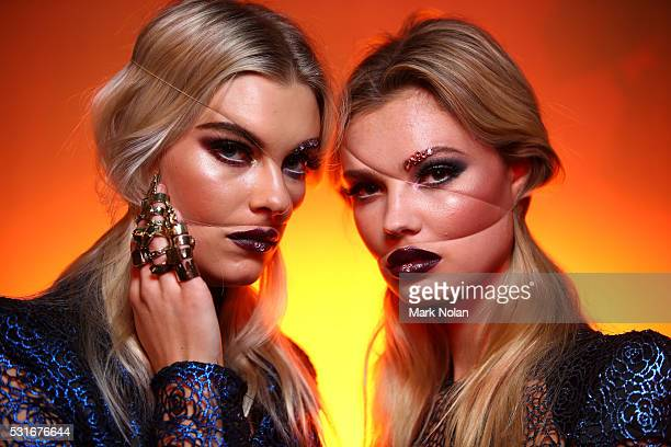 Models pose backstage ahead of the Zhivago show at MercedesBenz Fashion Week Resort 17 Collections at Carriageworks on May 16 2016 in Sydney Australia